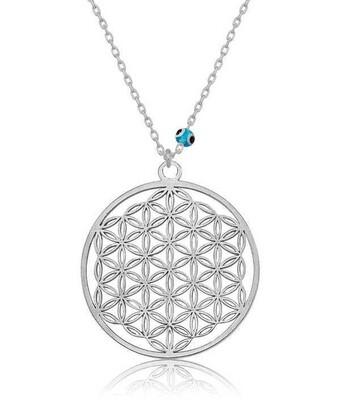 Gumush - Gümüş Nazar Gözlü Yaşam Çiçeği Kolye