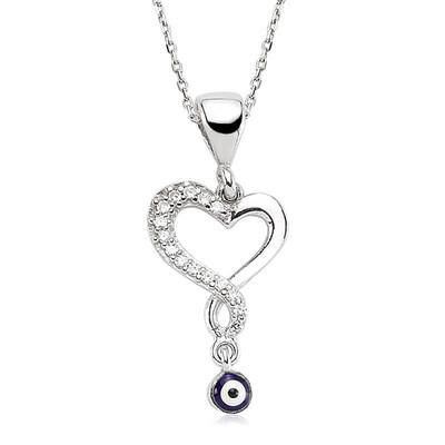 Tekbir Silver - Gümüş Nazarlı Bayan Kalp Kolye