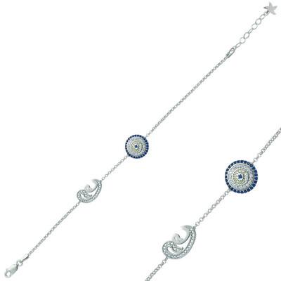 Tekbir Silver - Gümüş Nazarlı Çift Vav Bayan Bileklik