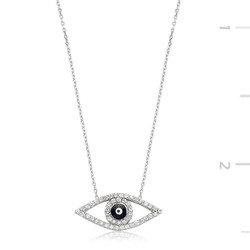 Tekbir Silver - Gümüş Nazarlı Göz Bayan Kolye