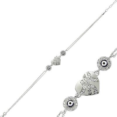 Tekbir Silver - Gümüş Nazarlı Kalp Bayan Bileklik