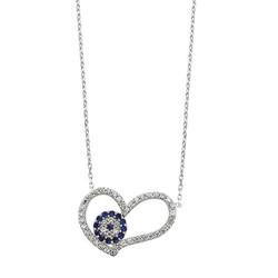 Tekbir Silver - Gümüş Nazarlı Kalp Bayan Kolye