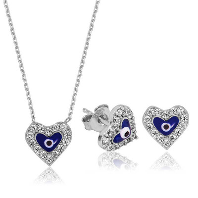 Tekbir Silver - Gümüş Nazarlı Kalp Set