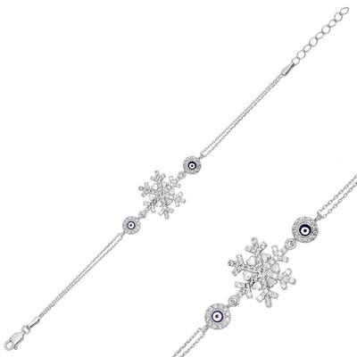 Tekbir Silver - Gümüş Nazarlı Kar Tanesi Bayan Bileklik