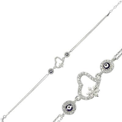 Tekbir Silver - Gümüş Nazarlı Kar Tanesi Kalp Bileklik