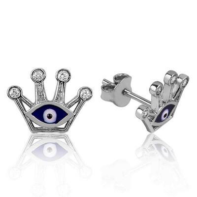 Tekbir Silver - Gümüş Nazarlı Kraliçe Tacı Çivili Küpe