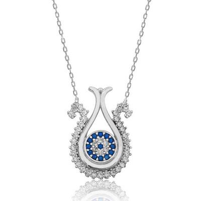 Tekbir Silver - Gümüş Nazarlı Lale Bayan Kolye
