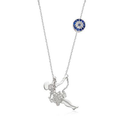 Tekbir Silver - Gümüş Nazarlı Salıncaklı Kız Bayan Kolye