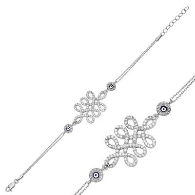 Tekbir Silver - Gümüş Nazarlı Sonsuzluk Bayan Bileklik