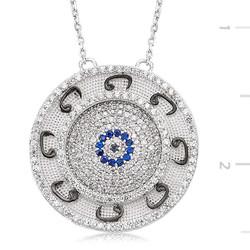 Tekbir Silver - Gümüş Nazarlı Vav Bayan Kolye