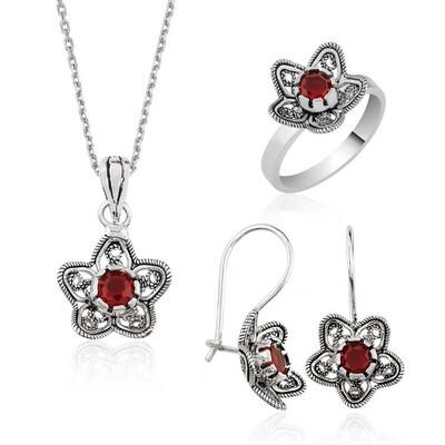 Tekbir Silver - Gümüş Nilüfer Çiçeği Telkari Bayan Set
