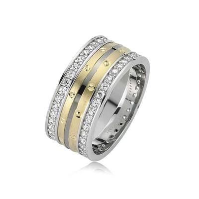 Tekbir Silver - Gümüş Noktalı Taşlı Çift Bayan Alyans