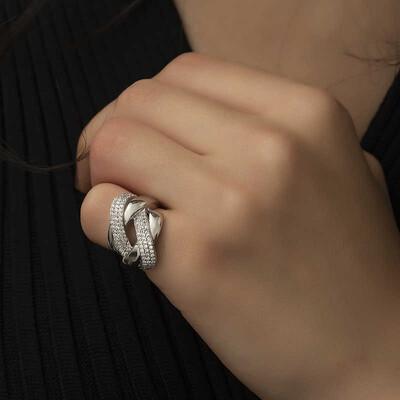 Tekbir Silver - Gümüş Örgü Model Bayan Yüzük (1)