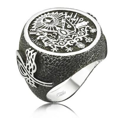 Tekbir Silver - Gümüş Osmanlı Devlet Armalı Erkek Yüzük