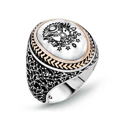 Tekbir Silver - Gümüş Osmanlı Devlet Armalı Sedef Erkek Yüzük