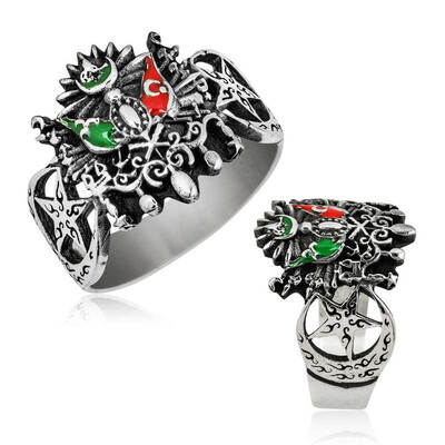 Tekbir Silver - Gümüş Osmanlı Devlet Arması Erkek Yüzük