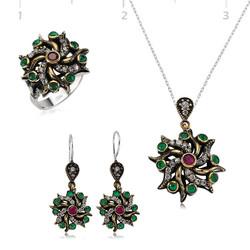 Tekbir Silver - Gümüş Otantik Çiçek Bayan Set