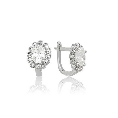 Tekbir Silver - Gümüş Oval Taşlı Çiçek Küpe