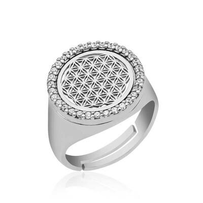 Gumush - Gümüş Oval Yaşam Çiçeği Yüzük