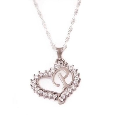 Tekbir Silver - Gümüş P Harf Kalpli Bayan Kolye