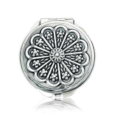 Tekbir Silver - Gümüş Papatya Motifli Kapaklı El Aynası