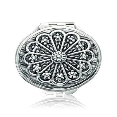 Tekbir Silver - Gümüş Papatya Motifli Kapaklı Oval El Aynası