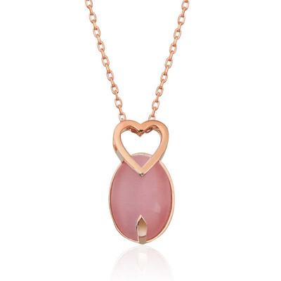 Gumush - Gümüş Pembe Kedi Gözü Taşlı Kalp Kolye