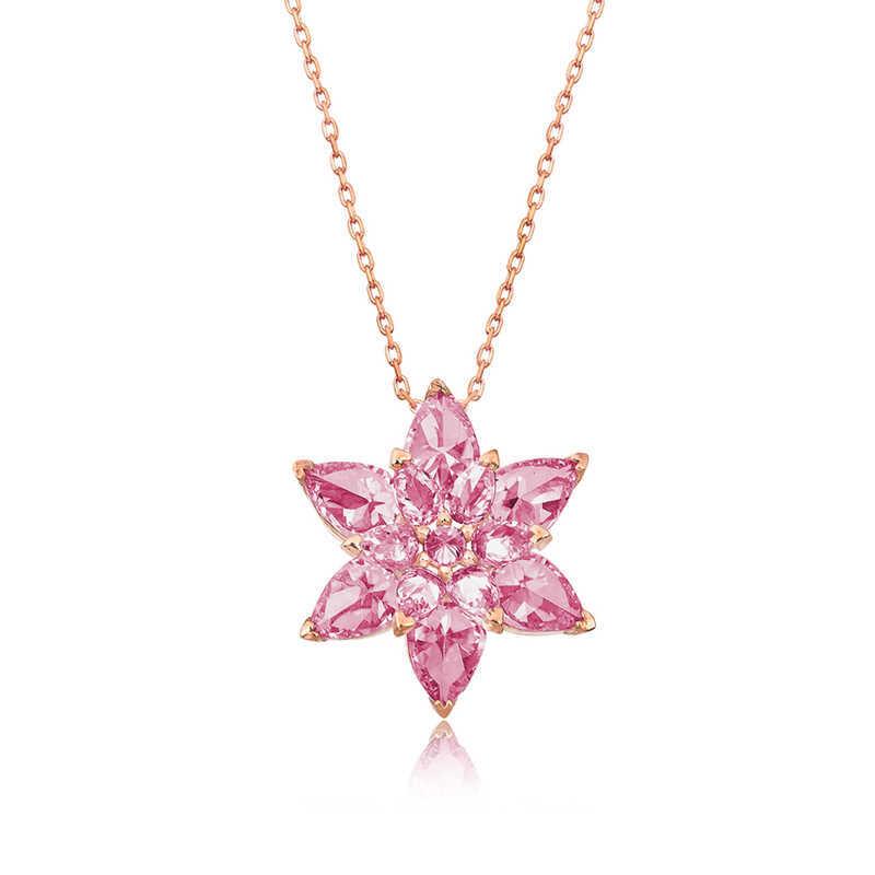 Gümüş Pembe Lotus Çiçeği Kolye