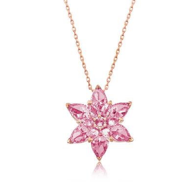 Gumush - Gümüş Pembe Lotus Çiçeği Kolye