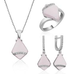 Tekbir Silver - Gümüş Pembe Taşlı Bayan Set