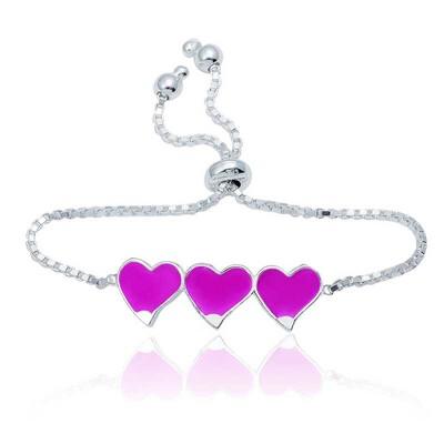 Tekbir Silver - Gümüş Pembe Üç Kalp Çocuk Bileklik