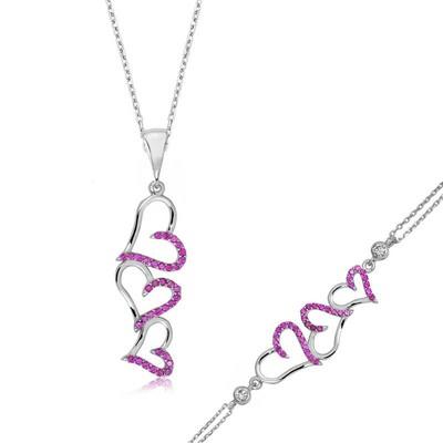 Tekbir Silver - Gümüş Pembe Üç Kalpli Bayan Set
