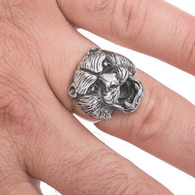 Gumush - Gümüş Puma Kafası Erkek Yüzük (1)