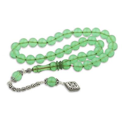 Gumush - Gümüş Püskül Yeşil Küre Ateş Kehribar Tesbih