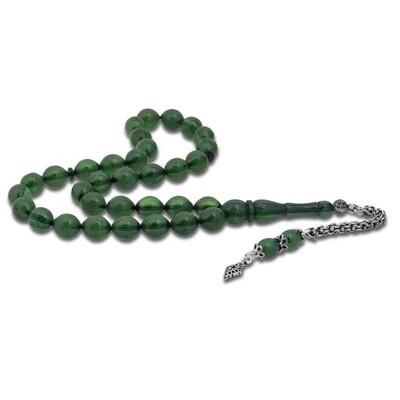 Tekbir Silver - Gümüş Püsküllü Yeşil Toz Kehribar Tesbih