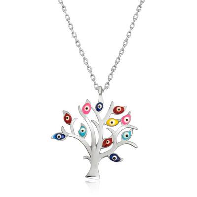 Gumush - Gümüş Renkli Nazarlı Hayat Ağacı Bayan Kolye