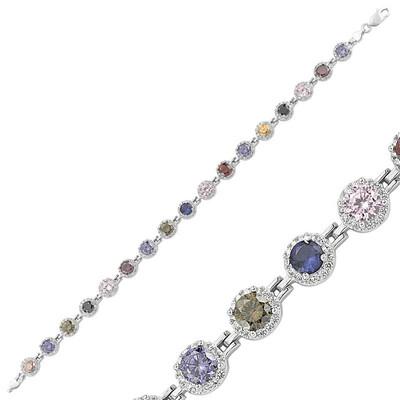 Tekbir Silver - Gümüş Renkli Taşlı Su Yolu Bayan Bileklik
