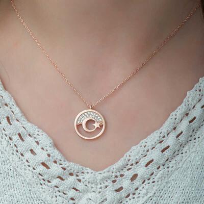 Gumush - Gümüş Rose Ay Yıldız Bayan Kolye (1)