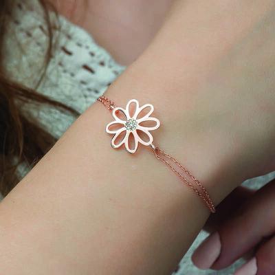 Gumush - Gümüş Rose Çiçek Bayan Bileklik (1)