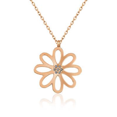 Gumush - Gümüş Rose Çiçek Bayan Kolye