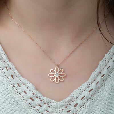 Gumush - Gümüş Rose Çiçek Bayan Kolye (1)