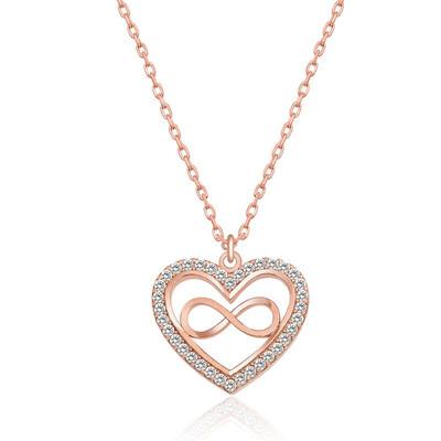 - Gümüş Rose Kalp Sonsuzluk Bayan Kolye