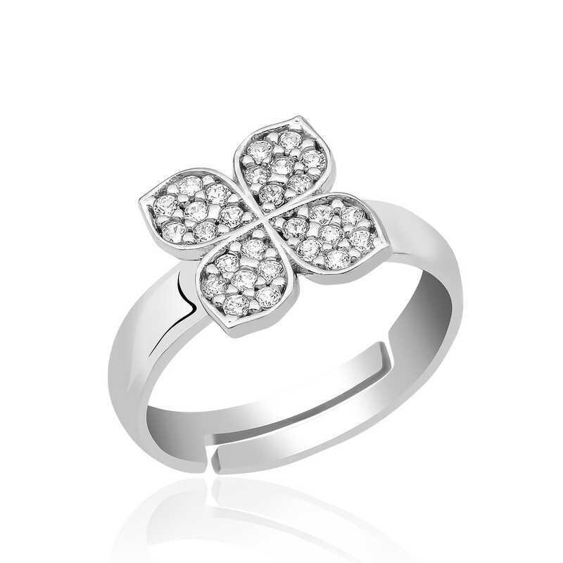 Gümüş Rüzgar Gülü Çiçek Yüzük
