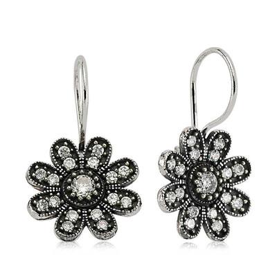Tekbir Silver - Gümüş Sallantılı Çiçek Küpe (1)