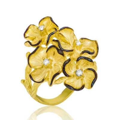 Tekbir Silver - Gümüş Sarı Çiçek Bayan Yüzük
