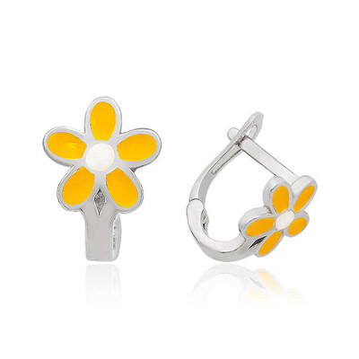 Tekbir Silver - Gümüş Sarı Çiçek Çocuk Küpesi (1)