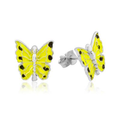 Tekbir Silver - Gümüş Sarı Kelebek Çocuk Küpesi