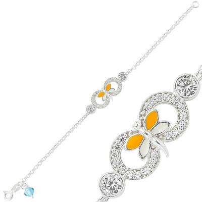 Tekbir Silver - Gümüş Sarı Kelebek Sonsuzluk Çocuk Bileklik
