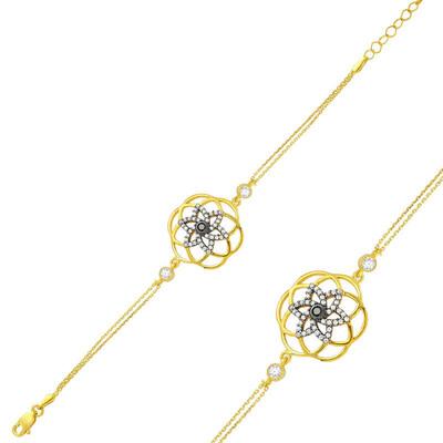 Tekbir Silver - Gümüş Sarı Yaşam Çiçeği Bayan Bileklik