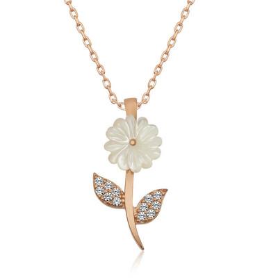 Gumush - Gümüş Sedef Çiçek Kolye